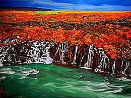 diaporama pps Hraunfossar falls Iceland